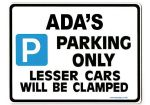 ADA'S Personalised Parking Sign Gift | Unique Car Present for Her |  Size Large - Metal faced